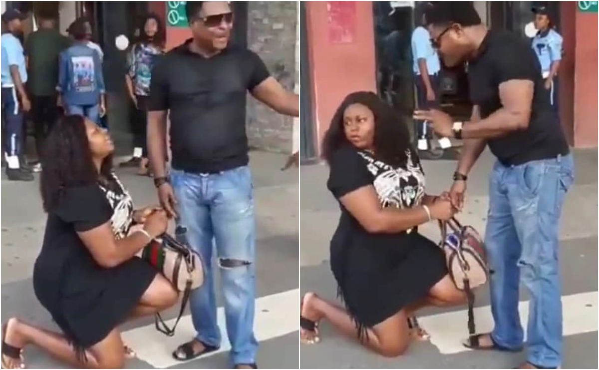 Woman Goes Down On Her Knees Publicly To Beg Her Boyfriend To Marry Her