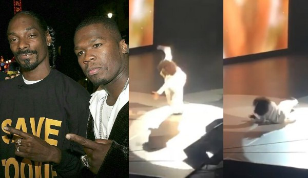 Snoop Dogg and 50 Cent mock Oprah Winfrey after she fell on stage while speaking on 'balance' (video)